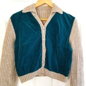 Vintage Handmade Corduroy & Wool Sweater